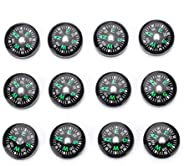 12-Part Button Compass, 20 mm Oil-Filled Mini Compass, Pocket Compass Accessories for Outdoor Activities
