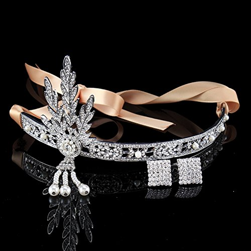 FUMUD Silver-Tone The Great Gatsby Pearl Crown Charleston Bridal Headband Inspired Leaf Simulated Pearl Headband Hair Tiara Headpiece + Earring