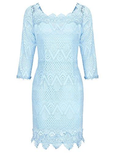 Vessos Women's Off Shoulder Vintage Bodycon Short Cocktail Party Lace Dress Light Blue X-Large