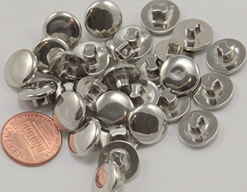ShopForAllYou Buttons Craft Sewing 24 Shiny Slightly Domed Silver Tone Plastic Buttons 1/2