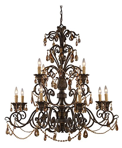 (Rochelle 12 Light Chandelier in Weathered Mahogany and Amber Crystal)