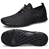 Water Sport Shoes for Men-Barefoot Men's Water Shoes Beach Pool Shoes Quick-Dry Aqua Yoga Socks Water Shoes Size 14 for Surf Swim Water Sport All Black 48 EU