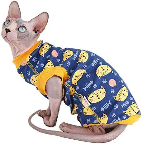 Sphynx Cat Cute Breathable Summer Cotton T-Shirts Pet Clothes, Round Collar Vest Hairless cat Kitten Shirts Sleeveless, Cats & Small Dogs Apparel (Blue)
