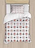 Lunarable Poker Twin Size Duvet Cover Set, Symbols of Poker Game Inside Rhombus Style Frames of Geometric Dots and Lines, Decorative 2 Piece Bedding Set with 1 Pillow Sham, Grey Black Red
