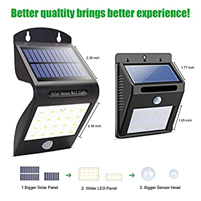 aickar Solar Step Lights, Water-resistant Wall Lights Outdoor, Wireless 20 LED Motion Sensor Solar Lights, Pack of Two