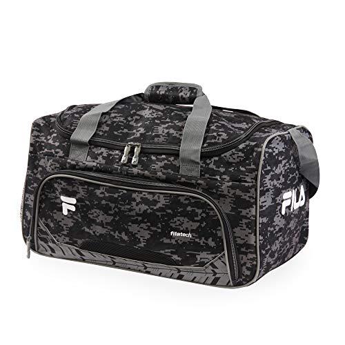 51GMbHlxTBL - Fila Source Sm Travel Gym Sport Duffel Bag, Black Digi Camo