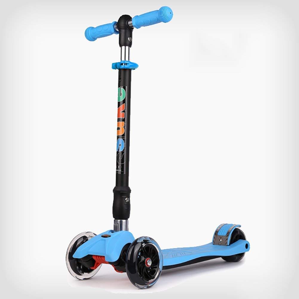 CMXIA Altezza Regolabile per Bambini Scooter Regolabile Pieghevole per Principianti da 2 a 12 Anni Baby può Scegliere tra Una varietà di Colorei in Flash a Quattro Ruote ( Colore   blu )