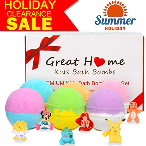 Kids Bath Bombs with Surprise Toys Inside for Kiddo Gift Set 6 XL Bubble Bath Fizzies Bombs Safe Ingredients that Don't Stain the Tub Organic Bath Fizzers Pokemon Bombs(Summer Promotion Only 5 Days) ()