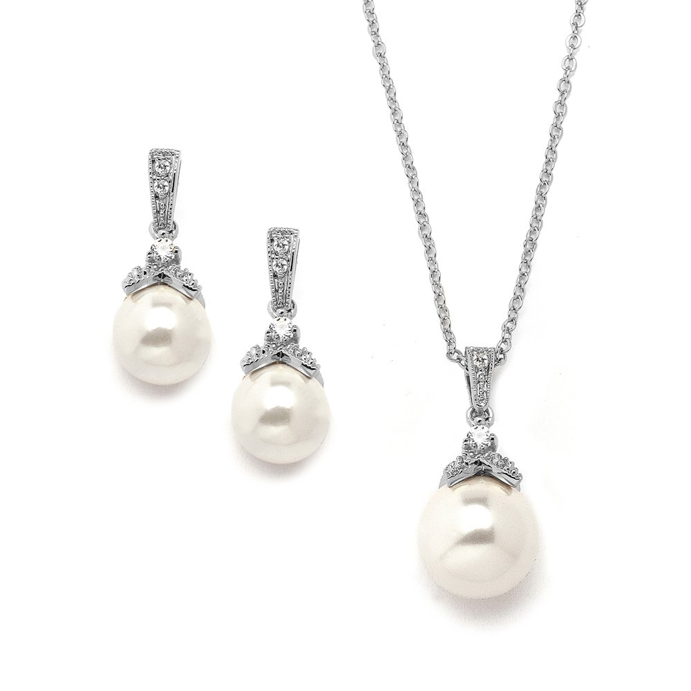 Mariell Vintage CZ and Ivory Glass Pearl Wedding Necklace & Earrings Set - Genuine Silver Platinum Plated