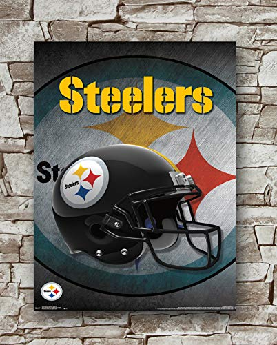 Huawuque NFL Pittsburgh Steelers Logo Helmet Poster Standard Size | 18-Inches by 24-Inches | Pittsburgh Steelers Posters Wall Poster Print
