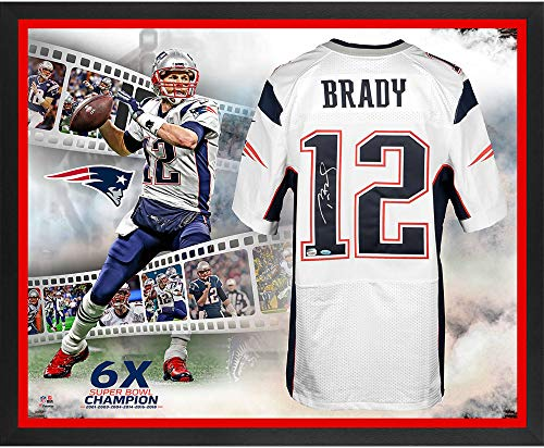 (Tom Brady New England Patriots Framed Autographed Super Bowl LIII Champions Nike White Elite Jersey 6-Time Champion Collage - TRISTAR - Fanatics Authentic Certified)