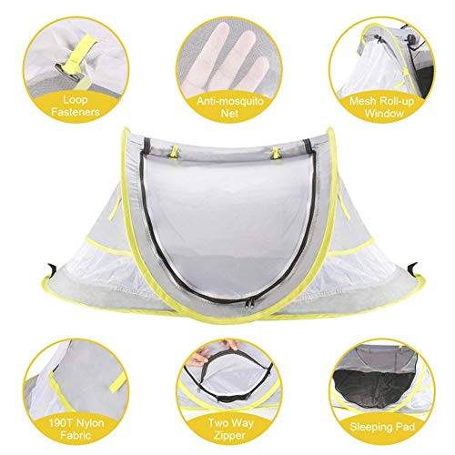 Nursery Travel Beds,Camping Sun Shelters,Baby Travel Bed Portable Baby Beach Tent UPF 50+ Sun Shelter Ultralight Baby…