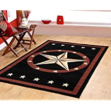 Texas Western Star Rustic Cowboy Decor Brown Black Area Rug 625 black Furnishmyplace - 5x8