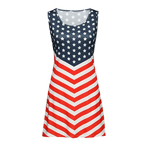 Aunimeifly Ladies American Flag Star Stripe Print Tank Sundress Casual Round Neck Sleeveless Loose Straight Dress Black