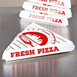 Paperboard White Pizza Slice Clamshell Food Container with 'Gourmet Pizza' Print, 9-1/4' Length x 10' Width x 1-3/4' Height (Case of 400)