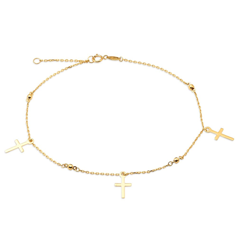 LoveBling 10K Yellow Gold .50mm Diamond Cut Rolo Chain with 3 Cross pendants Anklet Adjustable 9'' to 10'' (#14)
