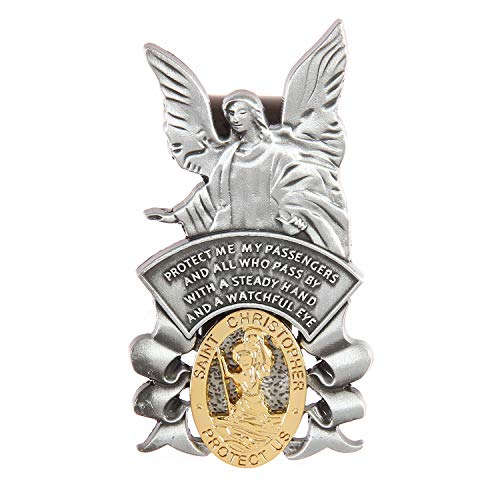 Guardian Angel Visor Clip, St Christopher Visor Clip, Protect US, Religious Holy Visor Clip Gift for Driver, US004 (Guardian Angel and St Christopher)