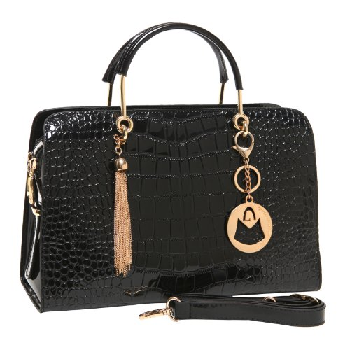 MG Collection CARA Black Faux Patent Leather Crocodile Embossed Satchel (Gold Embossed Handbag)