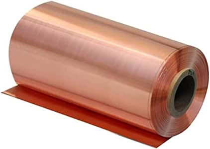 Dumadf 99.9/% Pure Cu Metal Plates Copper Sheet with Corrosion Resistance T2 High Purity Metal Sheet Foil Roll,300x1000mm,Thickness 0.2mm