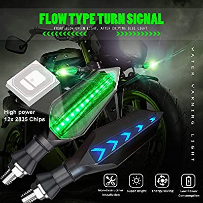 Universal Motorcycle LED Turn Signal Lights Double Color Front Rear Indicator Indicator Lights Green Flowing and Blue Daytime Running Lights Waterproof 12V 17LEDs.2-Pack.: Automotive