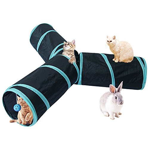 Cat Tunnel Toys Large Longer Collapsible Crinkle Pet Play Tubes Tunnel 3 Way with Fun Ball for Cat, Puppy, Kitty, Kitten, (Kitty Tunnel)