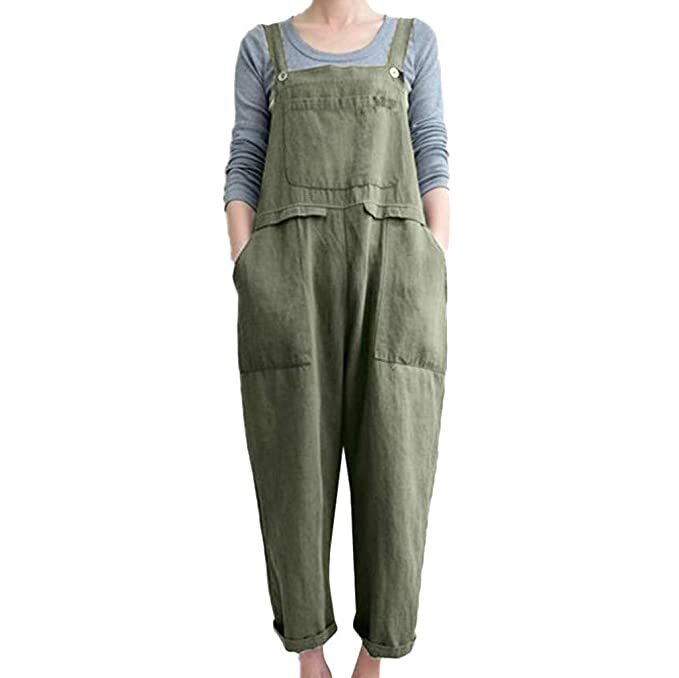 ce5a39812bbf1 Yying Women s Plus Size Strappy Jumpsuits Baggy Overalls Casual Sleeveless  Large Pocket Dungarees Casual Loose Harem Wide Leg Onepiece Rompers  Bodysuit S- ...