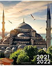 2021-2022: Famous Blue Mosque at Sunset Two Year 24-Months Weekly Planner Agenda Calendar Organizer with Useful Features
