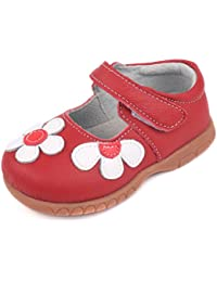 Girls Leather Bows Design Soft Round Toe Princess Dress Mary Jane Flat Shoes(Toddler/