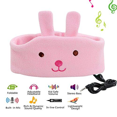 Children Headphone, Kids Music Headphone Headband, Comfortable Volume-Limited Soft Fleece Baby Headphone - (Pink Rabbit)