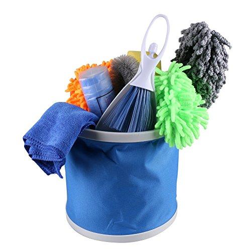 VXCAN 10PCS Car cleaning tool set with Wash Mitt Duster Wheel Brush Vent Brush Wash Sponge Chamois Cloth Wash Cloth Folding Bucket Kit (Vent Hood Cleaning)