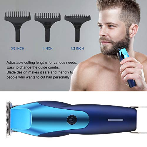 BESTBOMG 0-Gapped Hair Trimmer for Men/Kids with 1200mAh Li-Ion Battery, Long-Lasting T-outliner Shaving Trimmer Kits Precise Stainless Steel T-Blade and Guards (Blue)
