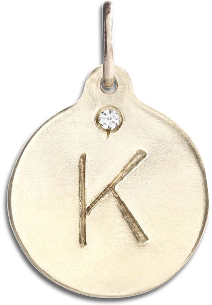Helen Ficalora ''K Alphabet Charm with Diamond Yellow Gold