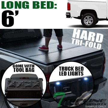 Cab Long Bed Snap (Topline Autopart Solid Hard Tri Fold Tonneau Cover With Tool Bag & Truck Bed LED Lighting System For 15-18 Chevy Colorado ; GMC Canyon Double ( Extended ) / Crew Cab 6 Feet ( 72