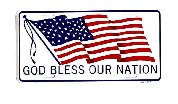 "New /"" GOD BLESS OUR NATION /"" US FLAG License Plate"