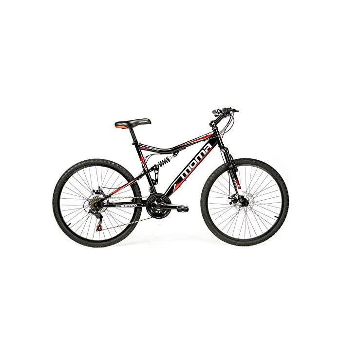 Moma Bikes Bicicleta Montaña HIT 26″, SHIMANO 21V, Doble Freno Disco, Full Suspension