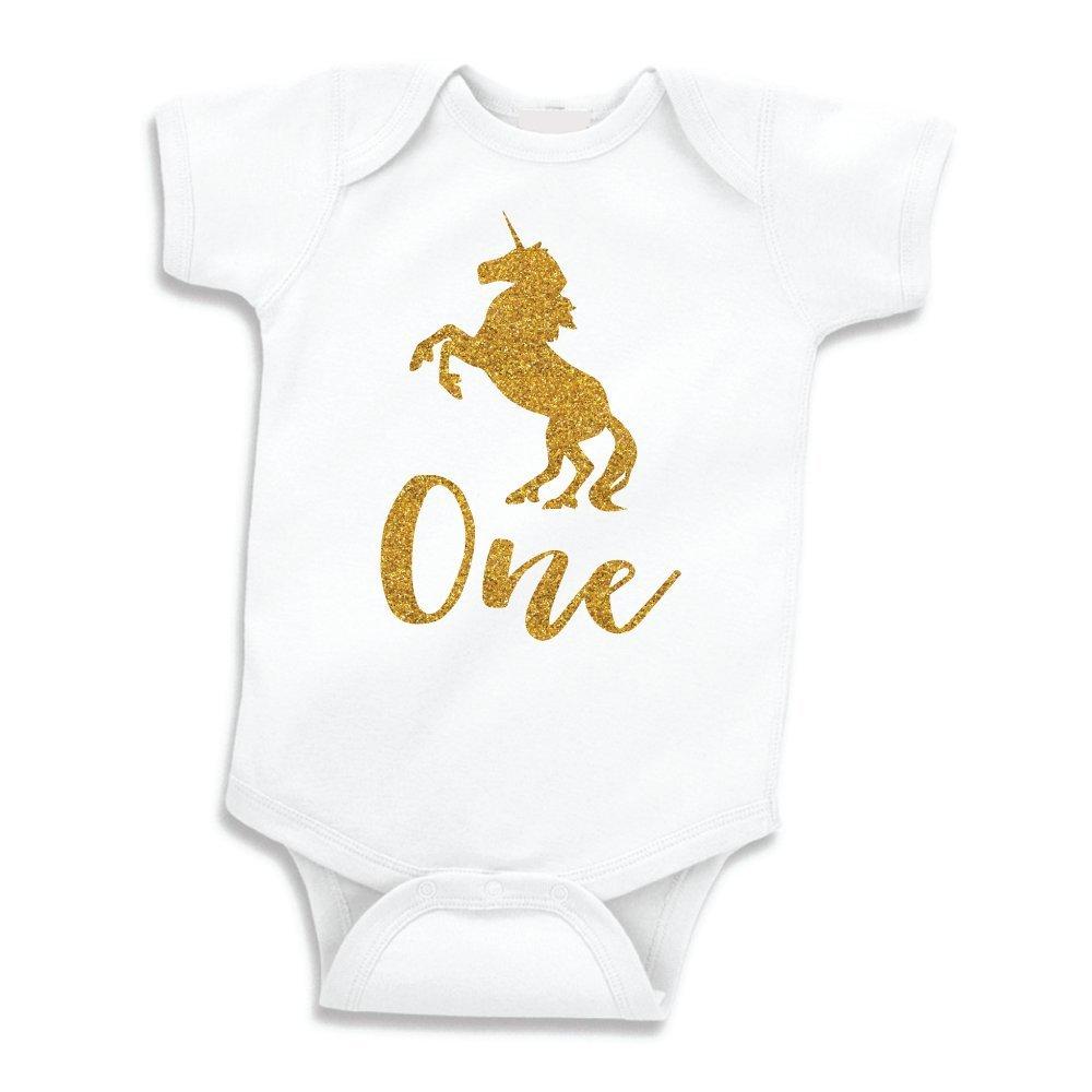 9e24ebab907e Amazon.com: Unicorn Girl First Birthday Outfit, Girls One Year Old Unicorn  Shirt (Glitter Gold, 12-18 Months): Baby