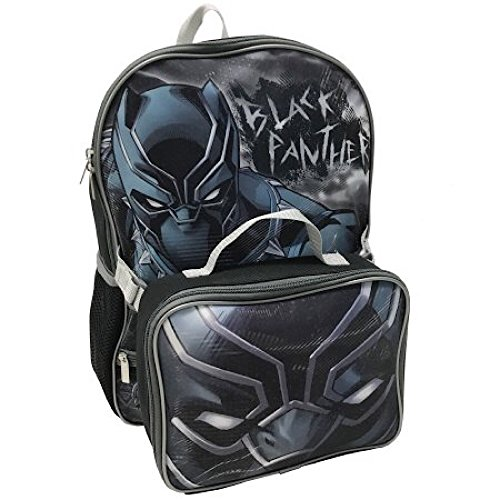 School Panthers Accessories - Marvel Avengers Black Panther Backpack & Lunch Bag Set