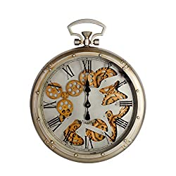 NIKKY HOME Retro Metal Moving Gear Mechanism Wall Clock Pocket Watch Shape