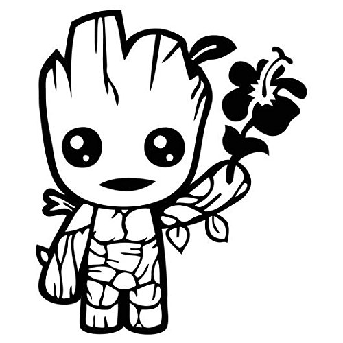 "Cute Baby Groot Holding Flower - 5"" tall  decal laptop table"