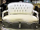 Mini Baby Victoria Love Seat/ Party Bench For Kids or Pets Photo Props White with Silver Leaf