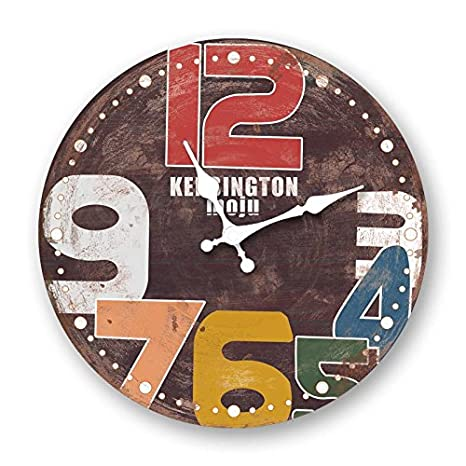 La sala del reloj de pared de madera decoracion retro informe creativo mudo moderno reloj de cuarzo de mesa,Diametro 30cm: Amazon.es: Hogar