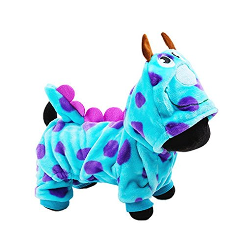 CUPET(TM) Blue Fashionable Pet Supplies Puzzle Bobble Style Pet Flannelette Winter Clothes with Hat Dog Costume Warm Casual Coat Hoodie for Dog (2)