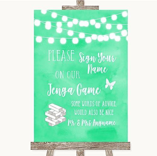 Letrero de boda verde menta acuarela colección verde menta acuarela luces Jenga libro de invitados Framed Black Medium: Amazon.es: Oficina y papelería