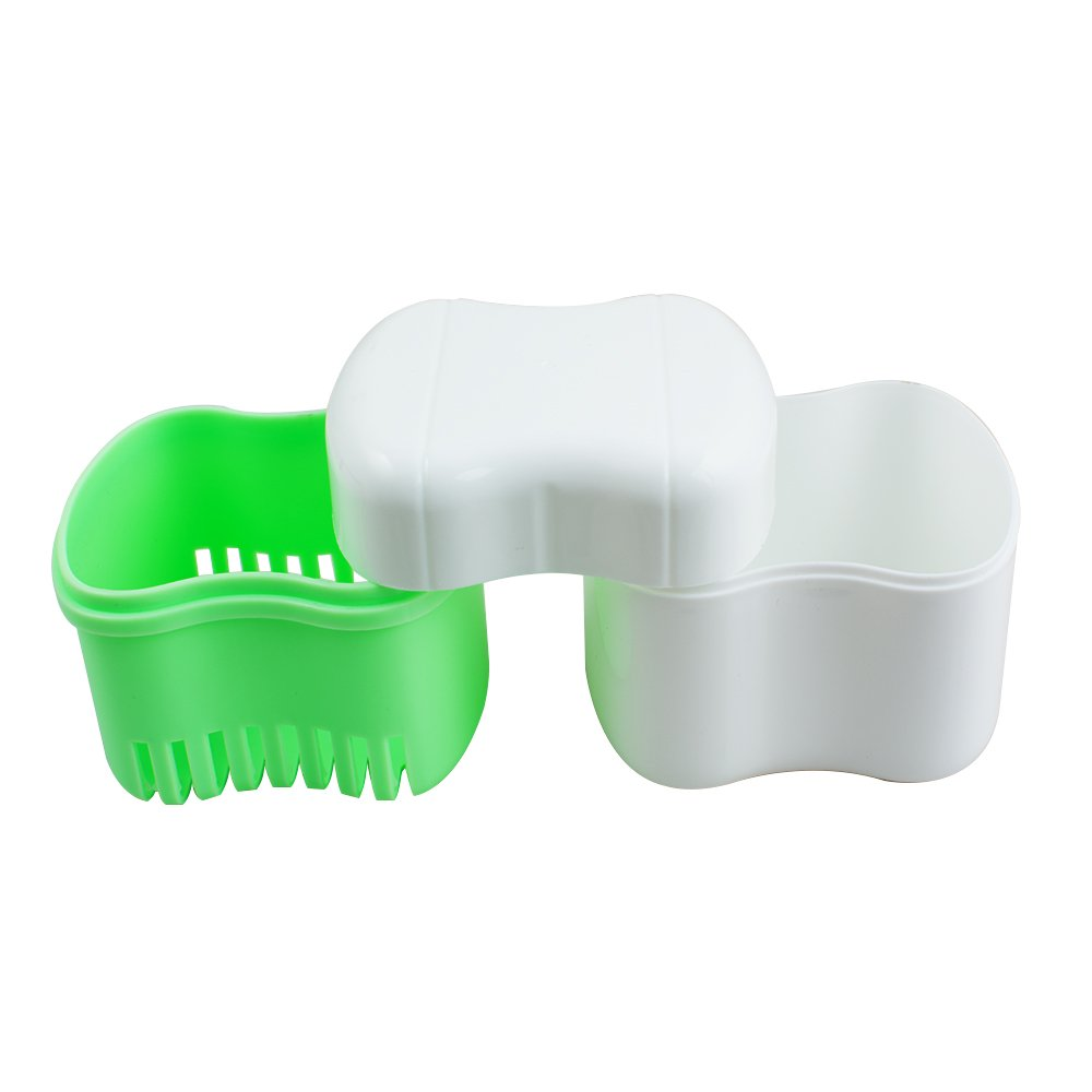 Genmine Denture Bath Box Case with Strainer Dental False Teeth Storage Container Rinsing Basket Travel Portable Boxes with Lid Mouth Guard Soaking Container Drain Tray Night Gum Shield Travel Storage