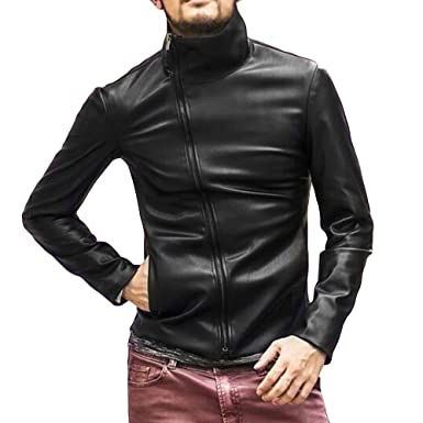 Toimothcn Men PU Leather Jacket Full Zipper Biker Motorcycle Outwear Warm Coat(Black,M