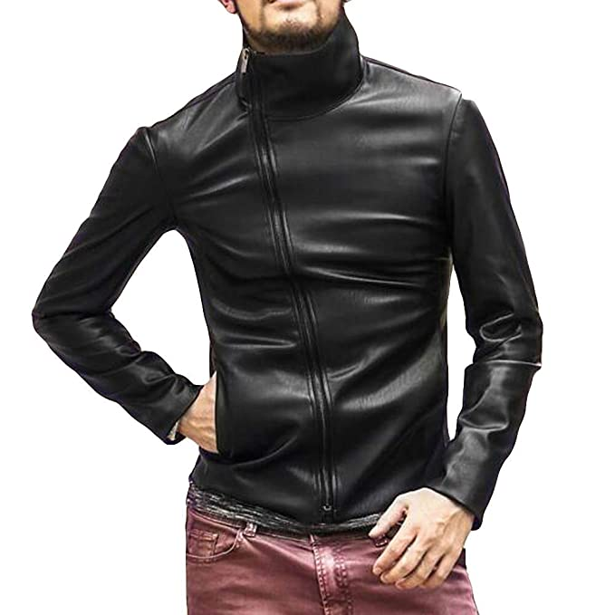 Amazon.com: Littleice Men Microfiber Leather Jacket Autumn&Winter Long Sleeve Stand Neck Biker Motorcycle Zipper Outwear Warm Coat: Clothing