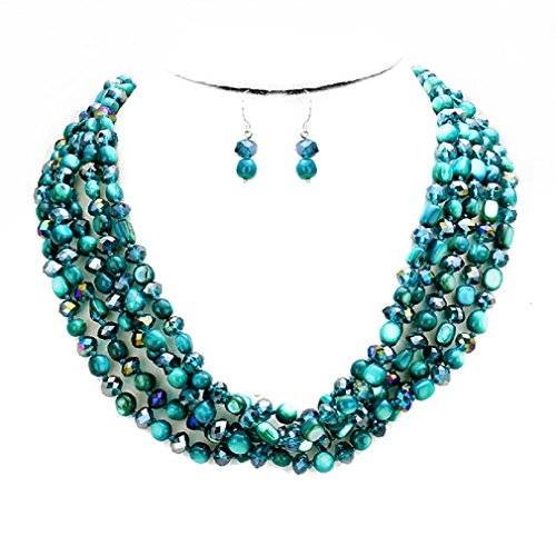 Uniklook Statement Layered Strands Glass Shell Mixed Beads Necklace Earrings Set Gift Bijoux (turquoise)