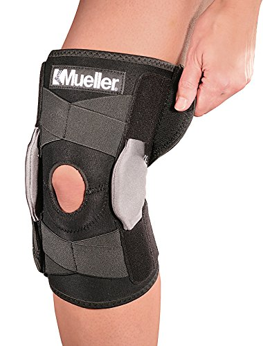 Mueller Sports Medicine Adjustable Hinged Knee Brace, Black/Gray, One Size Fits Most by Mueller