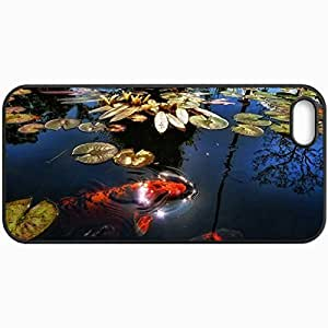 Customized Cellphone Case Back Cover For iPhone 5 5S, Protective Hardshell Case Personalized Fish Lake Pond Black