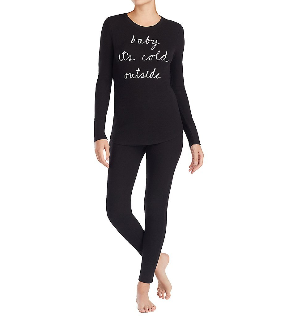 Kate Spade New York Graphic Baby Its Cold Outside Thermal PJ Set (5071455) L/Black